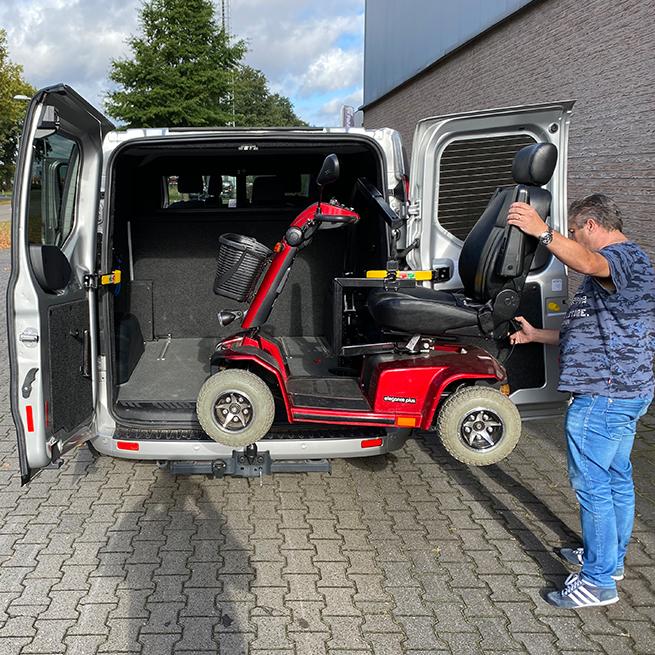 Weersink Scootmobiel opbergen achterin bus lift kofferbak draagkracht zwaar